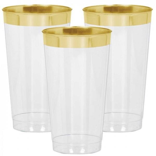 16 gobelets en plastique de qualité supérieure avec bord doré 454 ml