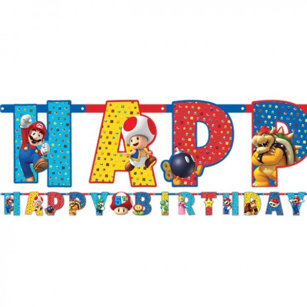 Customizable Super Mario Happy Birthday garland