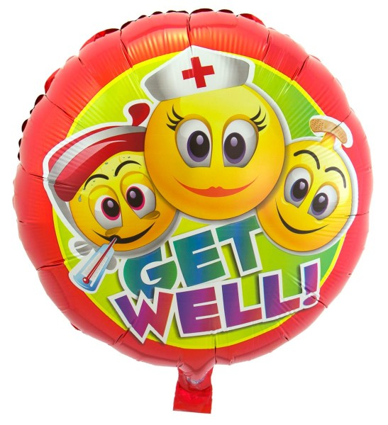 Ballon aluminium Get Well Emojis