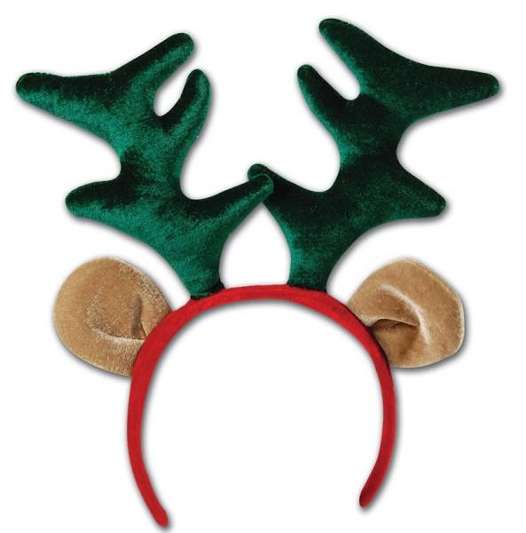 Diadema navideña con cuernos y orejas de reno