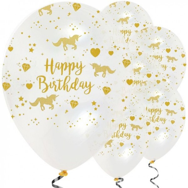 6 Golden Unicorn Ballons transparent 30cm