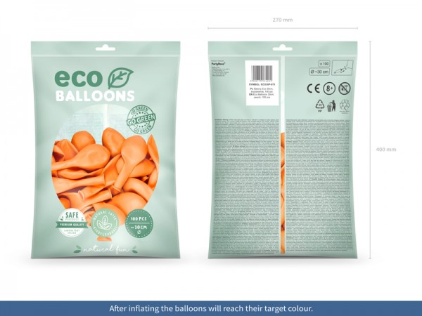100 Eco Pastell Ballons pfirsich 30cm