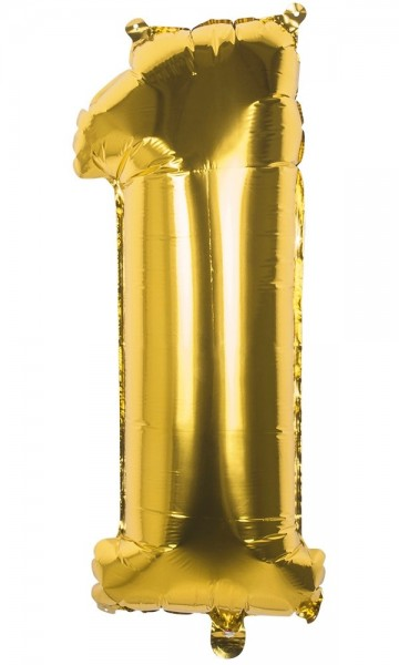 Number 1 Foil Balloon Gold Metallic 86cm