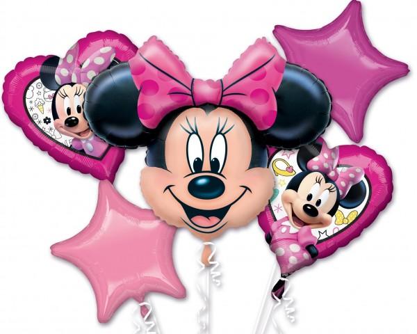 5 Folienballons fröhliche Minnie