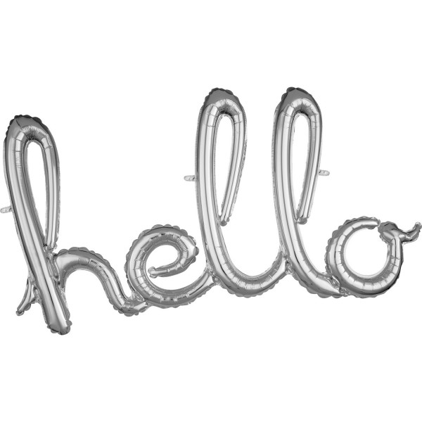 Silberner Hello Schriftzug 99 x 55cm