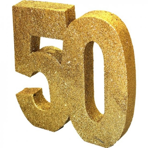 Golden number 50 table decoration glittering 20cm