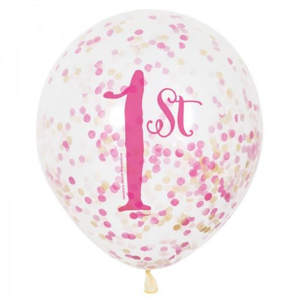 1st Birthday Konfetti Ballons Transparent Pink