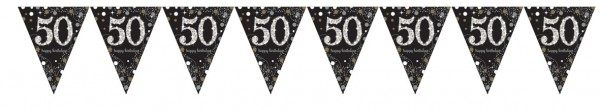 Golden 50th Birthday pennant chain 4m