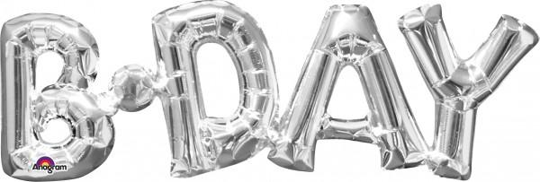 Folienballon Schriftzug B-Day silber 66x22cm