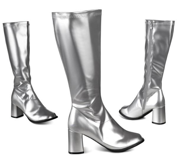 Silberne Caroline Absatz Stiefel