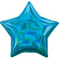 Holografischer Sternballon azurblau 45cm