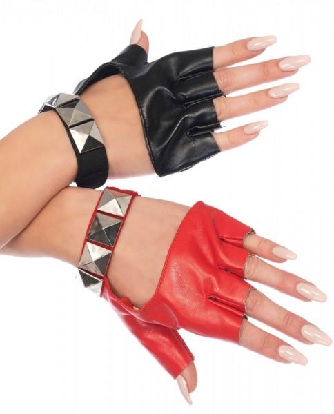Zweifarbige Handschuhe Mit Nieten