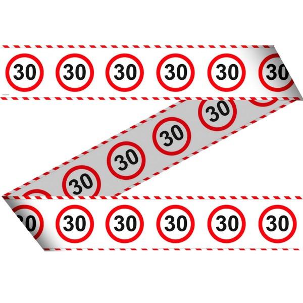 Absperrband zum 30. Geburtstag Verkehrsschild 15m 1