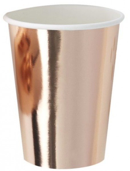 8 Party Cups Rose Gold Foil 255ml