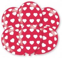 6 globos románticos con corazones 27,5cm