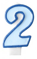 Zahlenkerze 2 blau 7cm