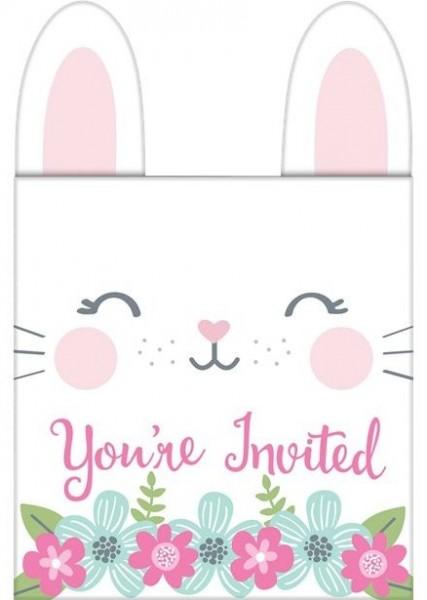 8 cartes d'invitation lapin avec enveloppes