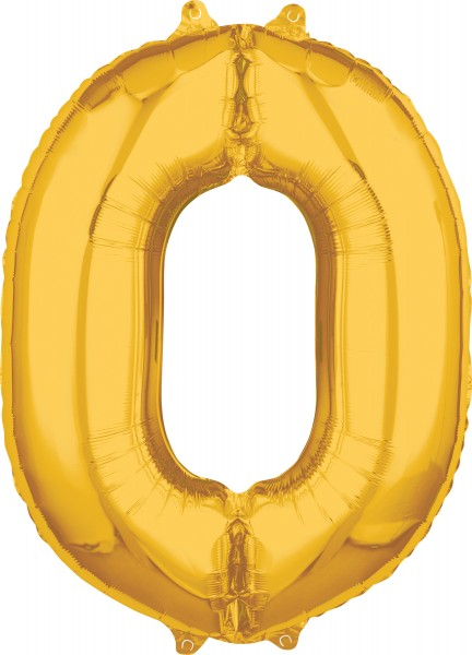Numbers foil balloon 0 gold 66cm