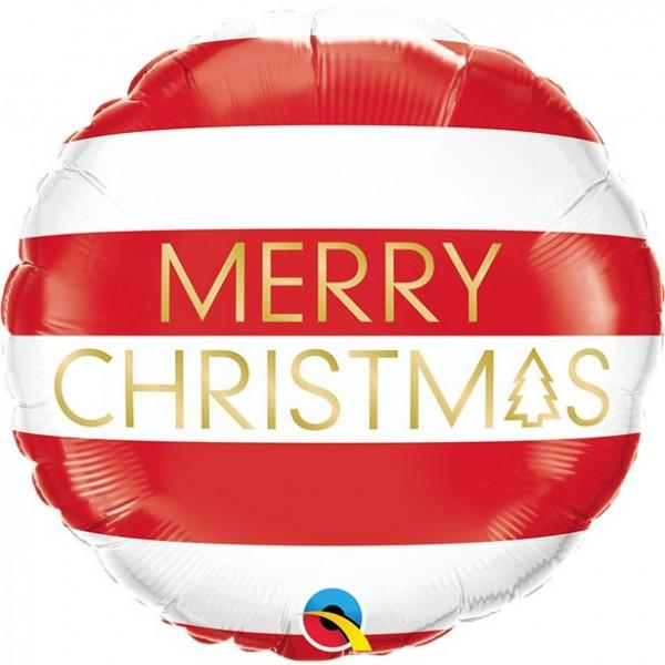 Joyeux Noël ballon aluminium rayé 45cm