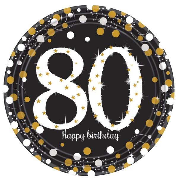 8 Golden 80th Birthday Pappteller 23cm