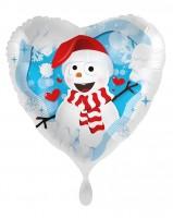Joli ballon aluminium bonhomme de neige 45cm