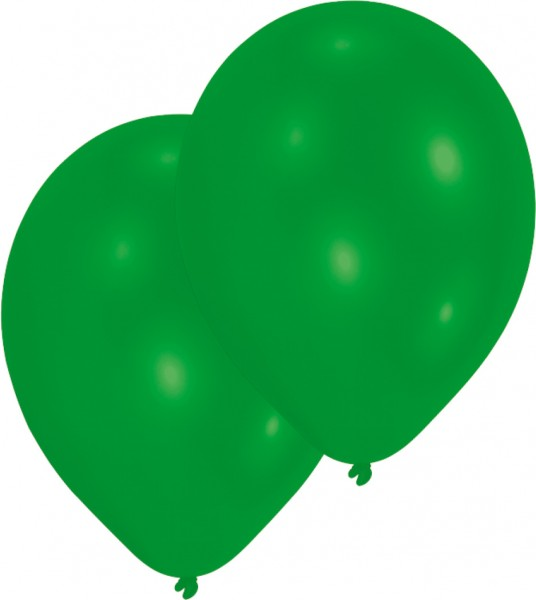 Set of 10 green balloons 27.5cm