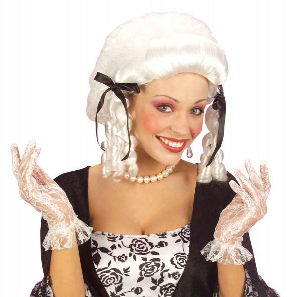 Weiße Spitzenhandschuhe Kolonial Mode