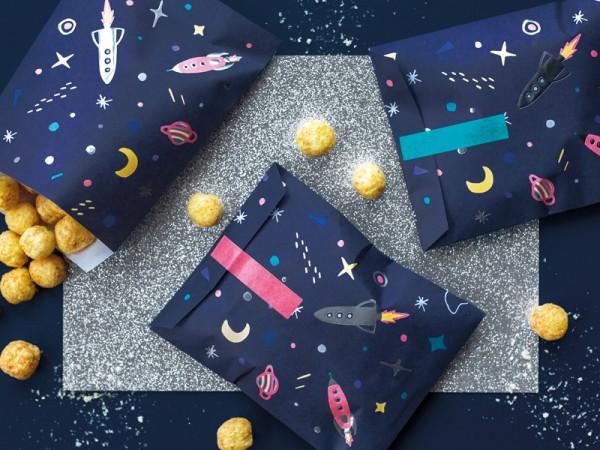 6 sacchetti regalo Space Party 13 x 14 cm