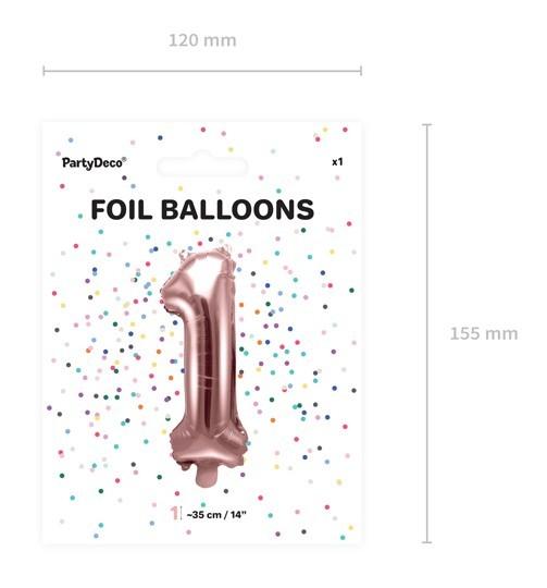 Metallic Ballon Zahl 1 roségold 35cm 5