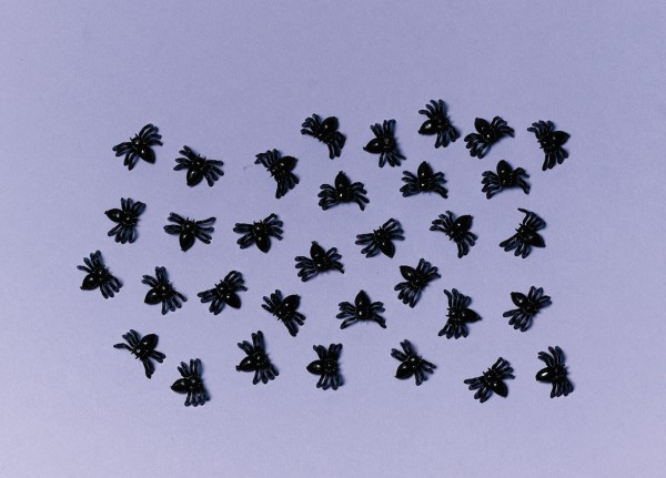 50 Mini Deko Spinnen Gruselspaß
