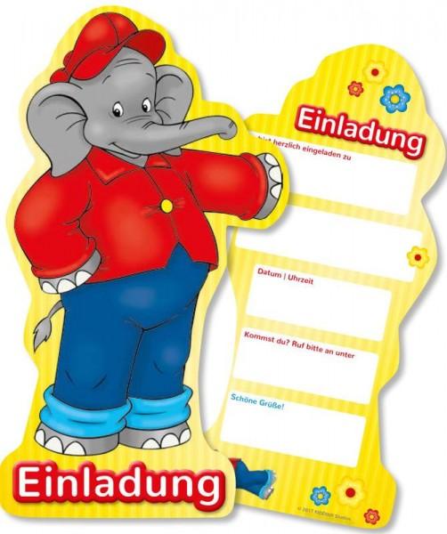 6 Benjamin Blümchen Einladungskarten