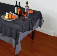 Schwarze Halloween Tischdecke in Leinenoptik