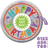Personalisierbarer Geburtstags-Button 15cm