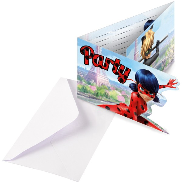 8 cartes d'invitation Miraculous Ladybug