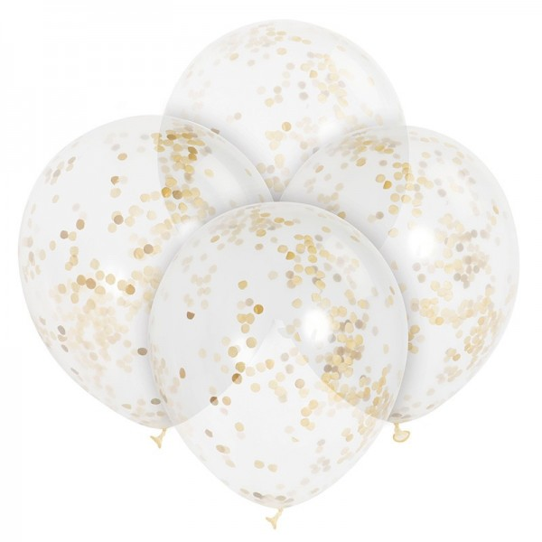 6 Konfetti Luftballons Celebration Gold