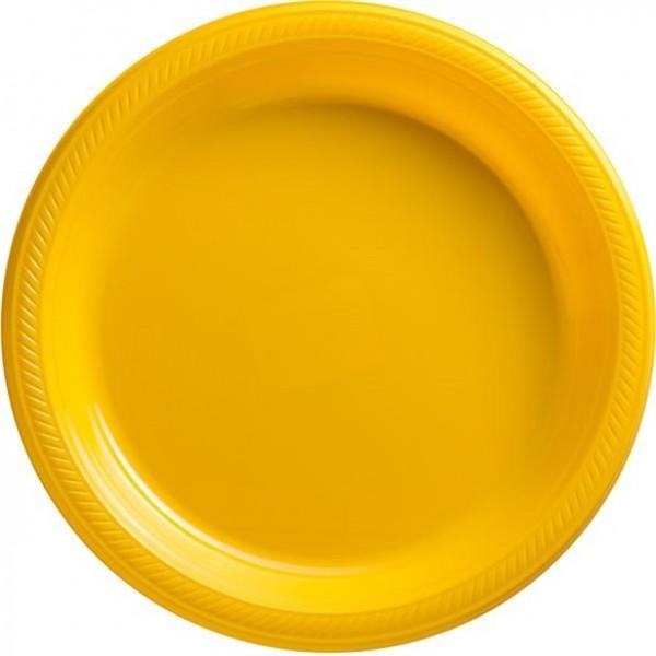 50 yellow plastic plates 26cm