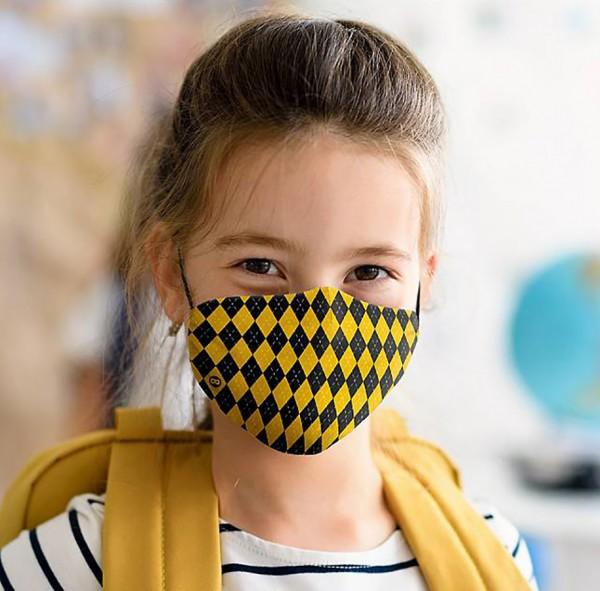 Mund Nasen Maske Zauberschule gelb für Kids