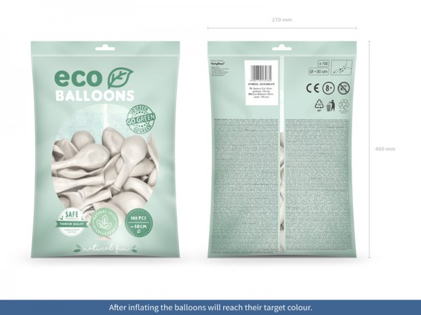 100 Eco metallic Ballons perlweiß 30cm