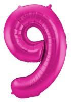 XXL Zahlenballon 9 Magenta 86cm