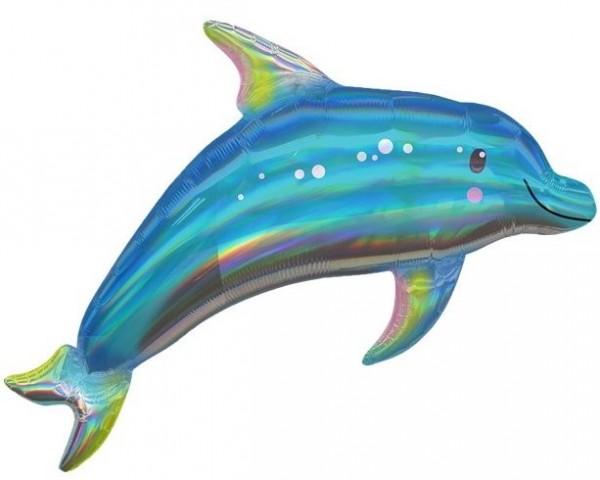 Ballon aluminium holographique dauphin bleu 74cm