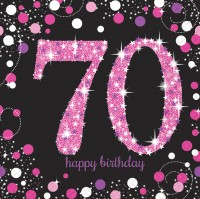 16 Pink 70th Birthday Servietten 33cm