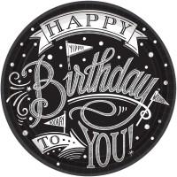 18 Black & White Birthday Pappteller 18cm