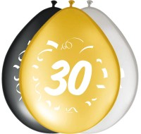 8 Ballons 30 Bday gold-silber-schwarz