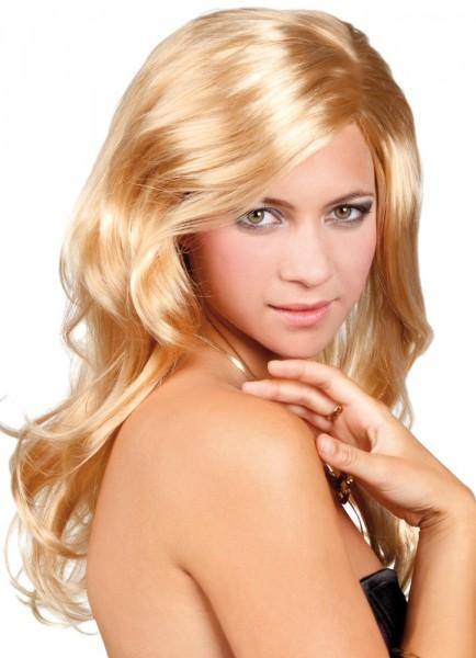 Pruik met lang haar Blonde golven