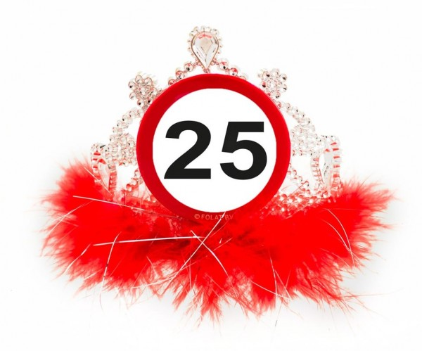 Road sign 25th birthday crown