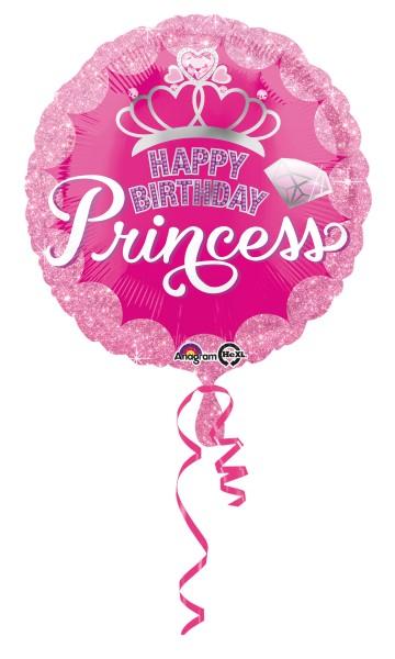 Geburtstagsballon Glitzer Princess pink