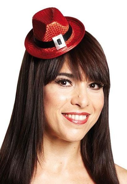 Pailletten Miniatur-Hut Rot Haarclip