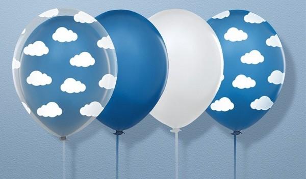 6 Little Plane Luftballons transparent 30cm