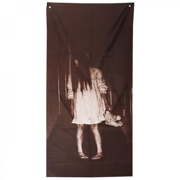 Horror Zombie Mädchen Türdeko 1,6m x 75cm