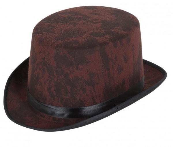 Chapeau cylindrique court classique marron